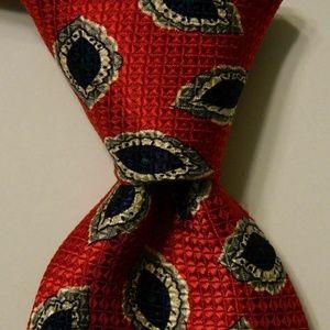 ROBERT TALBOTT Silk Necktie Geometric Red/Blue GUC